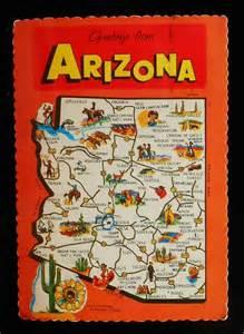1973 state map of arizona landmarks icons flower saguero