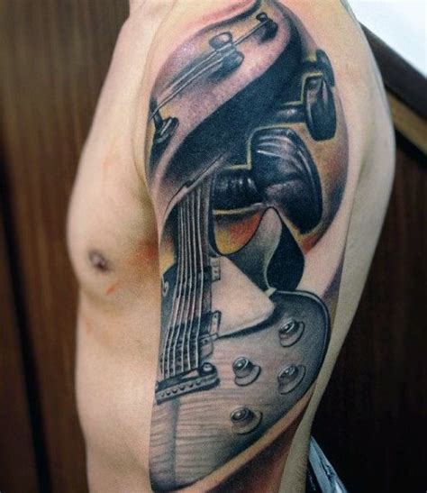 guitar sleeve tattoo designs 60 sleeve tattoos for lyrical ink design ideas