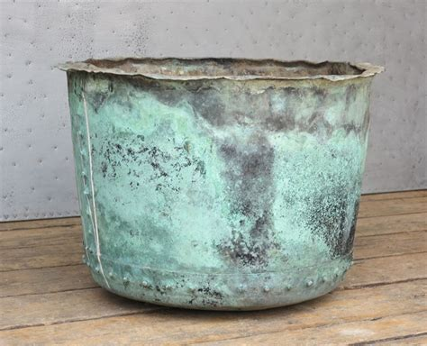 original large antique victorian copper planter  pot