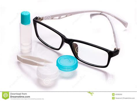 eyeglasses and contact lens stock photo image of