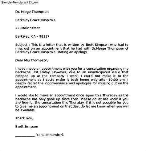 Apology Letter For Missing Exle Apology Letter For A Missed Appointment Sle Templates