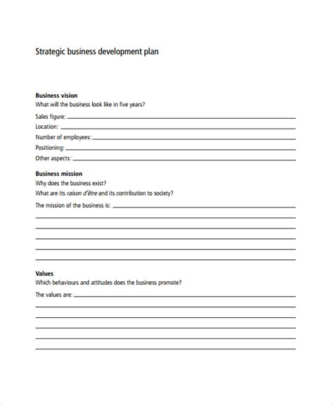 strategic business development plan template sle business development plan template 6 free