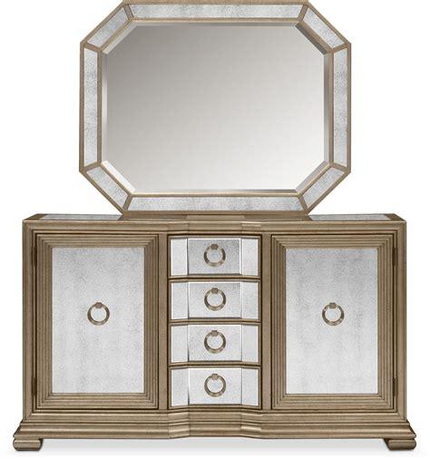 angelina dresser mirror value city furniture angelina sideboard with mirror metallic value city