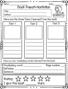 sle of book report for elementary book report nonfiction book report templates vocabulary