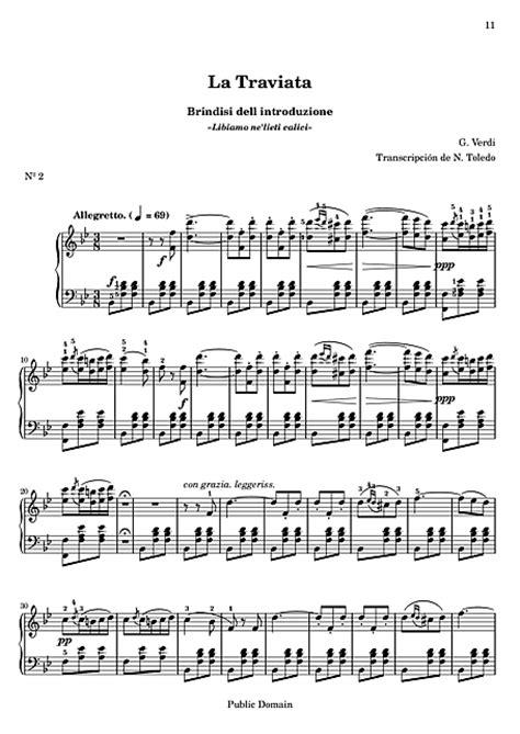 libiamo testo la traviata 2 brindisi pianoforte spartiti