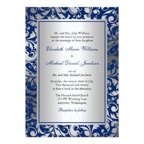 navy white and silver wedding invitations navy blue and silver damask swirls wedding 5x7 paper