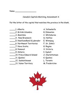 printable quiz about canada canada capitals matching assessments quiz two forms