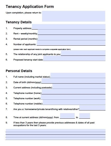 Rental Credit Application Form Template free oregon rental application pdf template