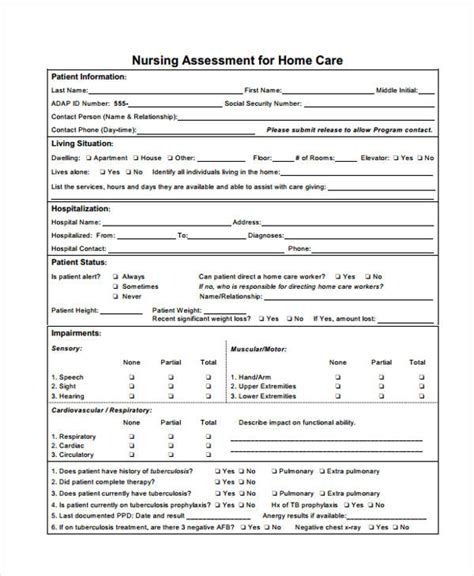 nursing assessment form nursing assessment form in pdf