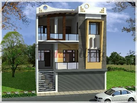 100 Gaj Sq Ft residential cum commercial elevation 3d front view design