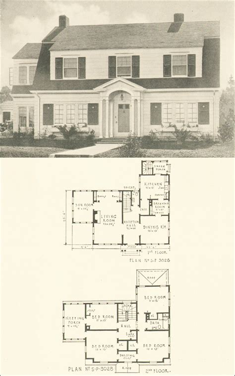 dutch colonial house plans dutch colonial revival 1920s house plan no 3028