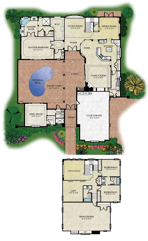 florida house plans with courtyard pool courtyard floorplans floor plans and renderings 169 abd