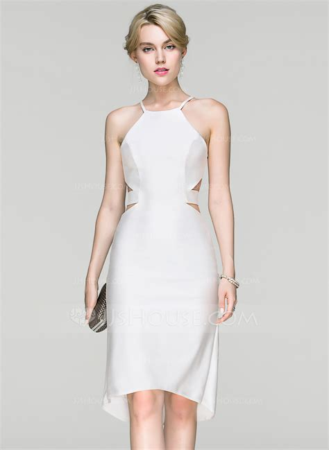 Sheath/Column Scoop Neck Asymmetrical Jersey Cocktail