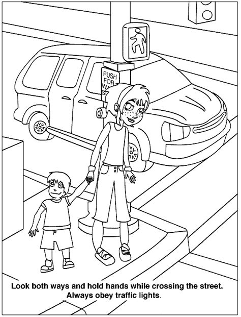 safety coloring pages road safety for children coloring pages