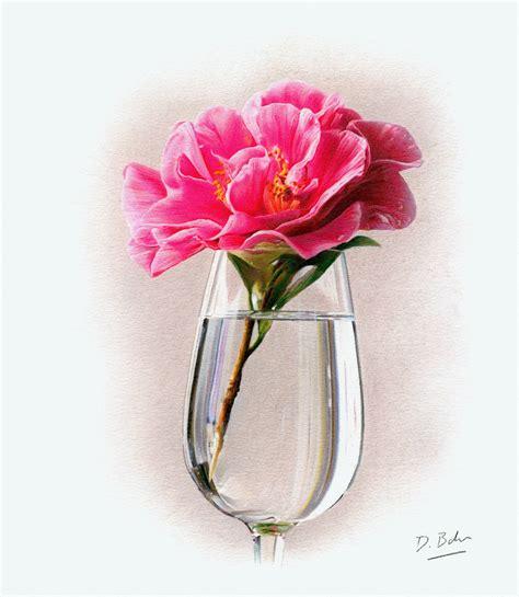 rose in glass rose in glass study darren baker artist original