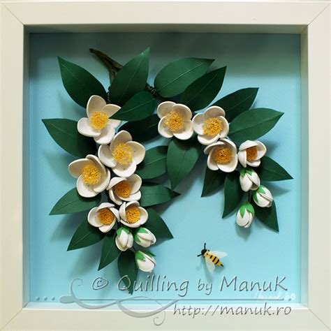 quilling tutorial beehive flower quilled jasmine flowers branches and a bee in a shadowbox