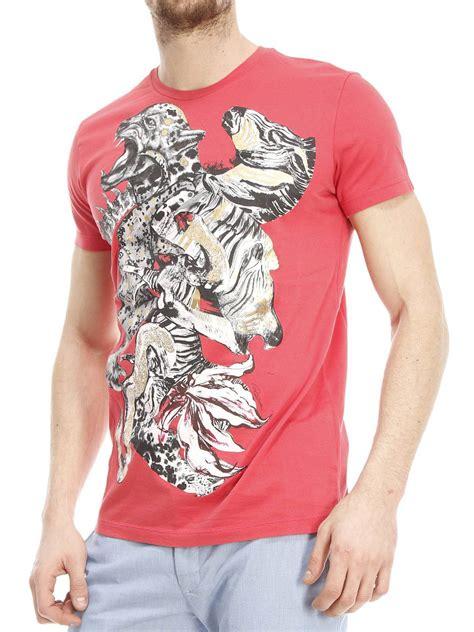 Printed Cotton T Shirt By Roberto Cavalli T Shirts Ikrix by Roberto Cavalli Printed Cotton T Shirt T Shirts Cm757y2428635
