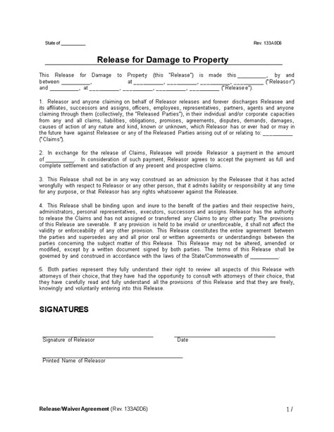waiver agreement template free release waiver agreement damage to property