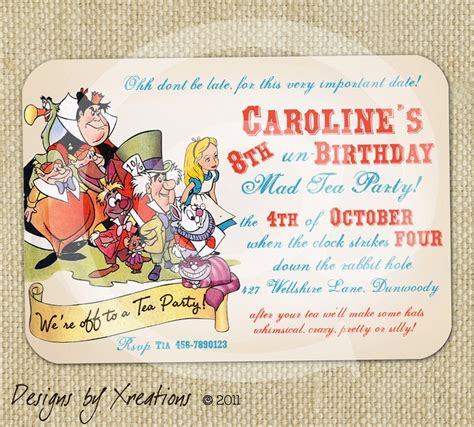 alice in wonderland tea party themed invitation digital