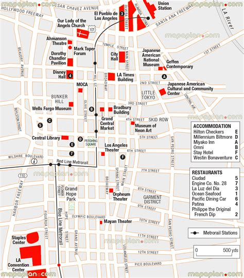 map of los angeles hotels maps update 21051488 tourist attractions map in los