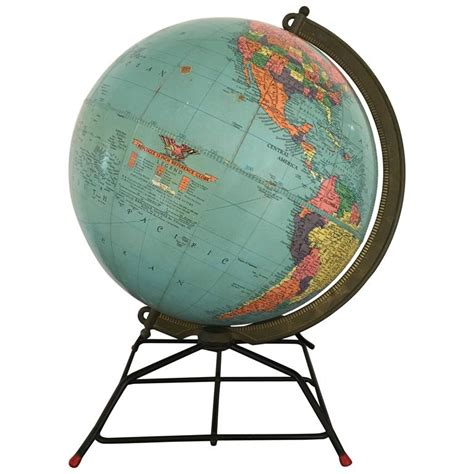 mid century replogle globe on wire stand for sale at 1stdibs