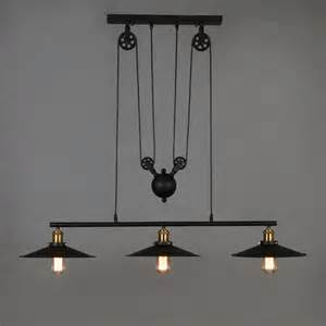 pulley pendant light fixtures loft retro wrought iron black vintage chandeliers