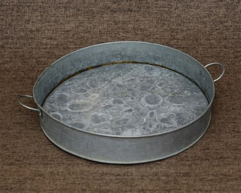 Antique Brass Sconce Vintage Galvanized Metal Tin Round Serving Tray By Frbrocante