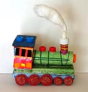 Things Made Out Of Recycled Materials Little Train From Recycled Materials Things To Make And