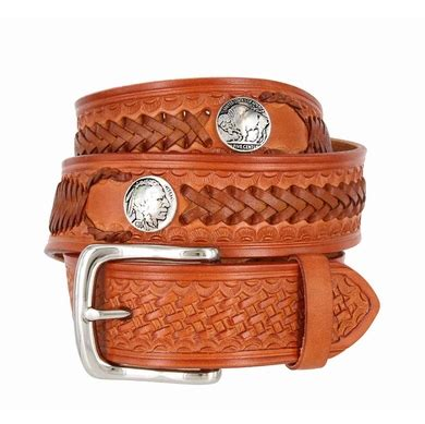 western scorpion hand woven leather belt nickel plated