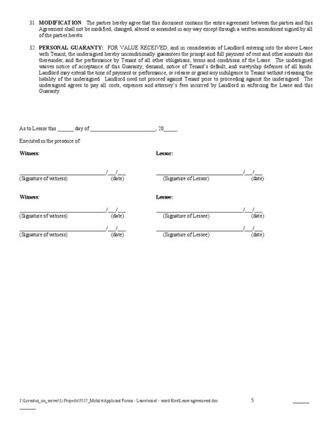 Residential Lease Agreement Sle Form Free Download Contract Signature Page Template