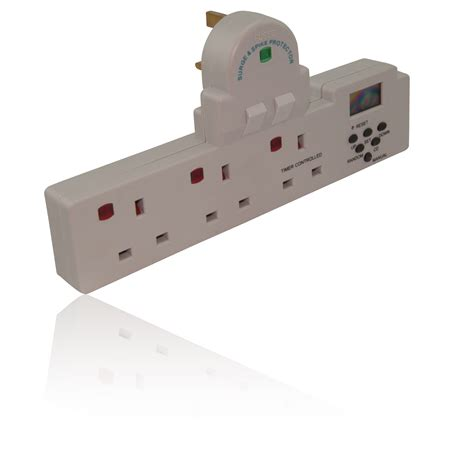 3 way uk 13 mains socket adapter bar with timer no cable required