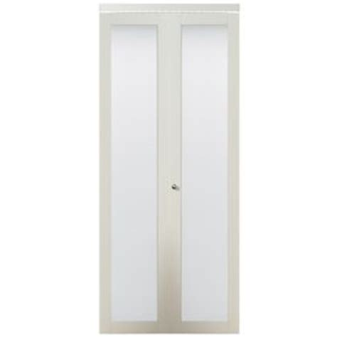 Kingstar Closet Doors Shop Kingstar 24 In X 80 In White Lite Solid Tempered Frosted Glass Interior Bifold