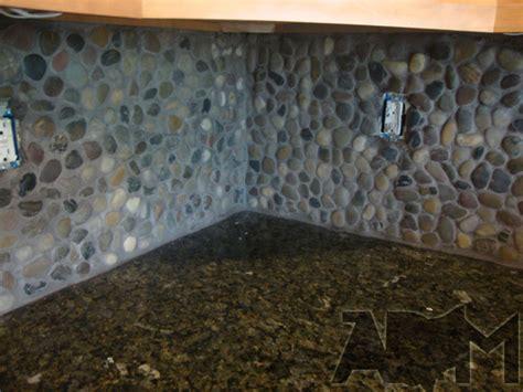 river rock backsplash creative design river rock backsplash for kitchen