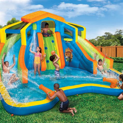 inflatable backyard water park banzai inflatable adventure club dual slide and pool backyard water park
