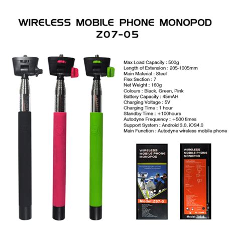 Tongsis Mobil tongsis wireless mobile phone monopod for iphone z07 5 green jakartanotebook