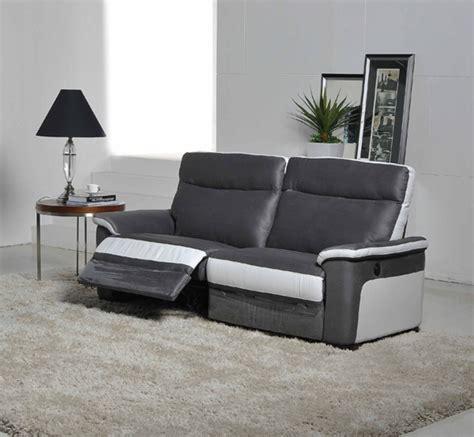 canapé 3 places relax electrique salon gris fonce et blanc
