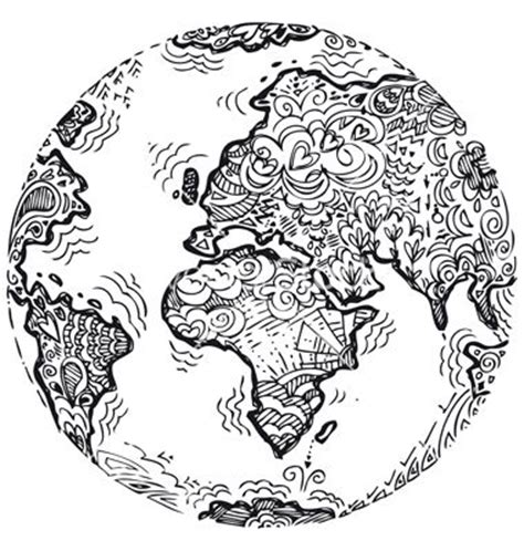 doodle planet flower planet earth sketched doodle vector by carlacastagno on