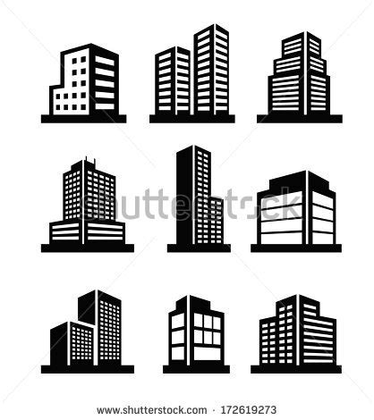 design icon head office vector black illustration building icon on stock vector