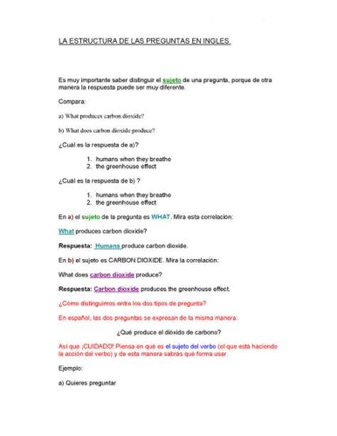 preguntas ingles estructura documento la estructura de las preguntas en ingl 233 s