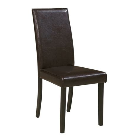 Ashley Kimonte Faux Leather Dining Side Chair In Brown Leather Dining Side Chairs