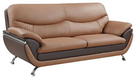 two tone light brown brown bonded leather sofa