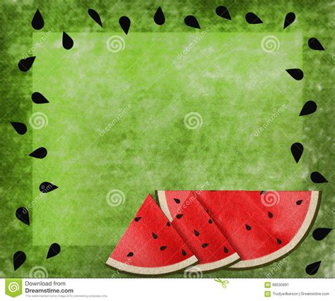 watermelon on the border watermelon green texture background seeds border stock