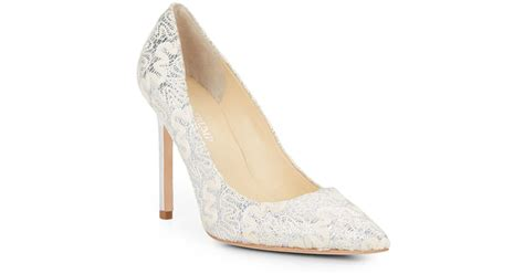 ivanka metallic lace pumps in white ivory lyst