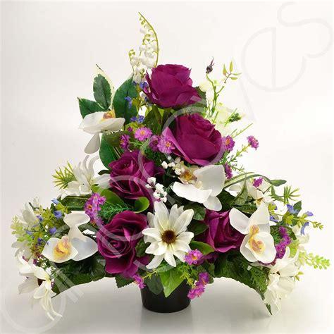 graveside silk flower arrangements daisy pink roses artificial flower graveside memorial