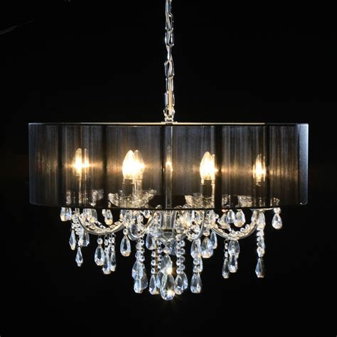 Chandelier With Black Shades Shade H 21xw 70xd 70cm