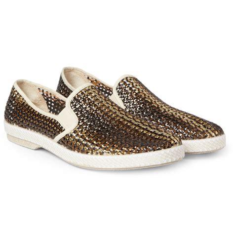 metallic shoes lyst rivieras woven metallic slipon shoes in metallic