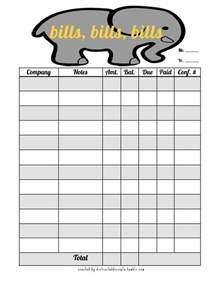 Bill Organizer Template by Excel Monthly Bill Organizer Template 6 Best Images Of