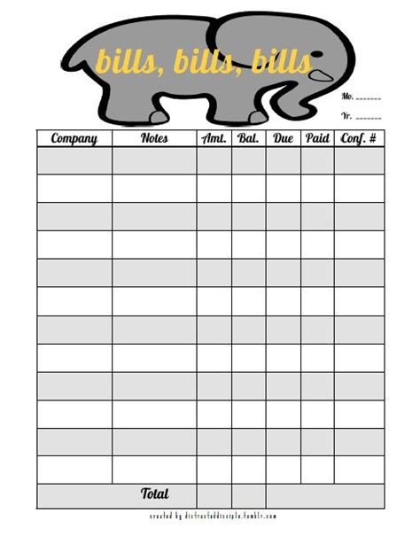 search results for free printable monthly bill organizer