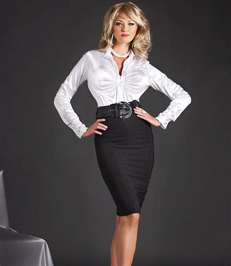 tight black pencil skirt and white satin blouse office