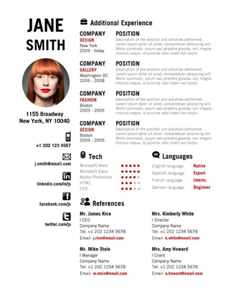 microsoft word creative resume red 2pg0001